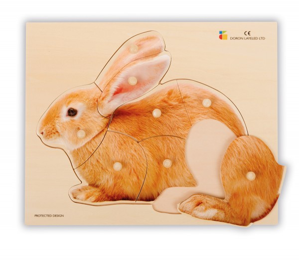Holz-Puzzle realistisch Hase