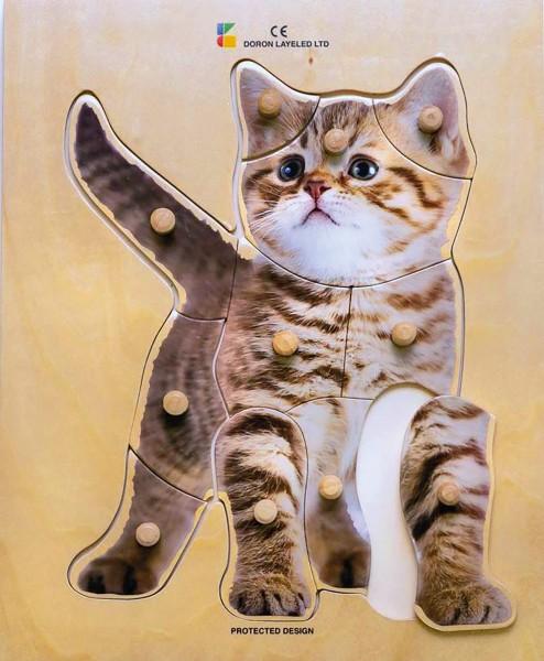 Holz-Puzzle realistisch Katze
