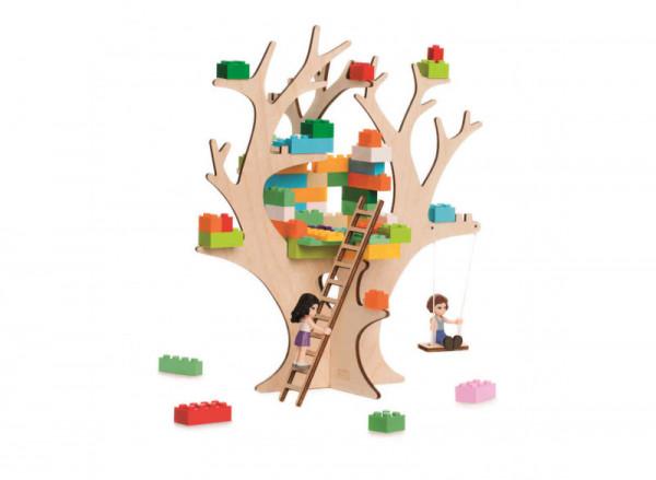 3D Puzzle für große Bausteine, Wohnhaus mit Baum