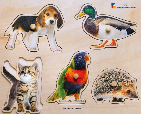 Holz-Puzzle Tier-Kollektiv