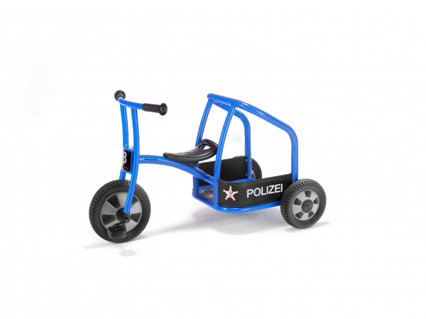 Dreirad Polizei aktiv, neue Bereifung